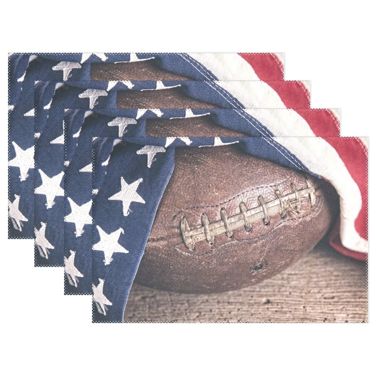 Wamika ヴィンテージ レザー フットボール プレースマット レトロ アメリカ国旗 テーブルマット ノンスリップ 洗濯可能 耐熱 テーブルマット キッチン ダイニング 装飾トレイマット 12インチ x 18インチ 1セット 6PCS 6PCS  B07KK1P2TJ
