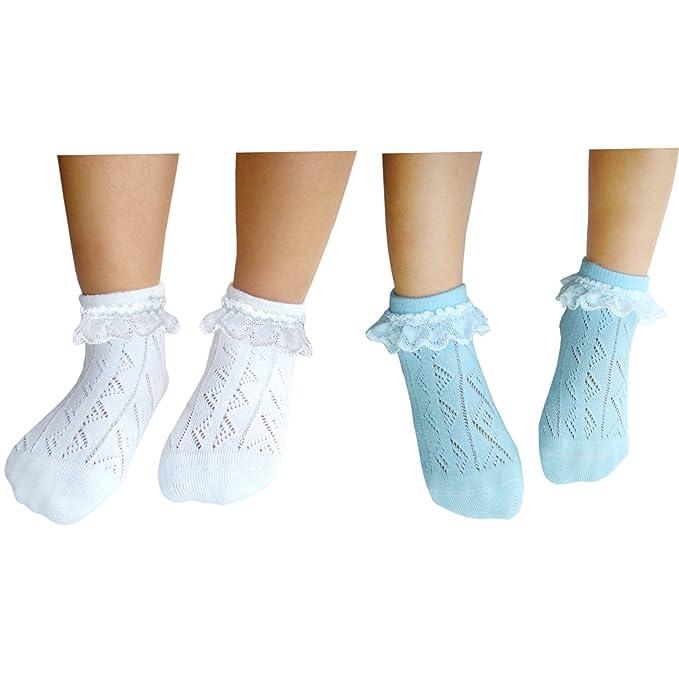 JHosiery Niñas calcetines sin costuras pointelle con encaje para ...