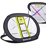SAPLIZE Golf Chipping Net, Strongly Stable Pop Up X-Shaped Golfing Target Net for Indoor/Outdoor/Backyard Accuracy and Swing