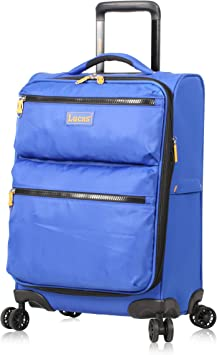 Lucas Ultra Lightweight Carry On - Expandable Softside 20 Inch Luggage - Small Rolling Bag Fits Most Airline Compartments - Durable 8-Spinner Wheels Suitcase (Royal Blue)