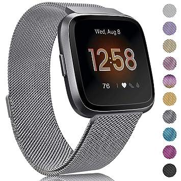 Onedream Bracelet pour Fitbit Versa/Versa Lite - Bracelet Metal en Acier Inoxydable Accessoire Réglable