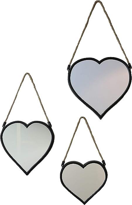 Arthouse Set of 3 Heart Mirror, Black