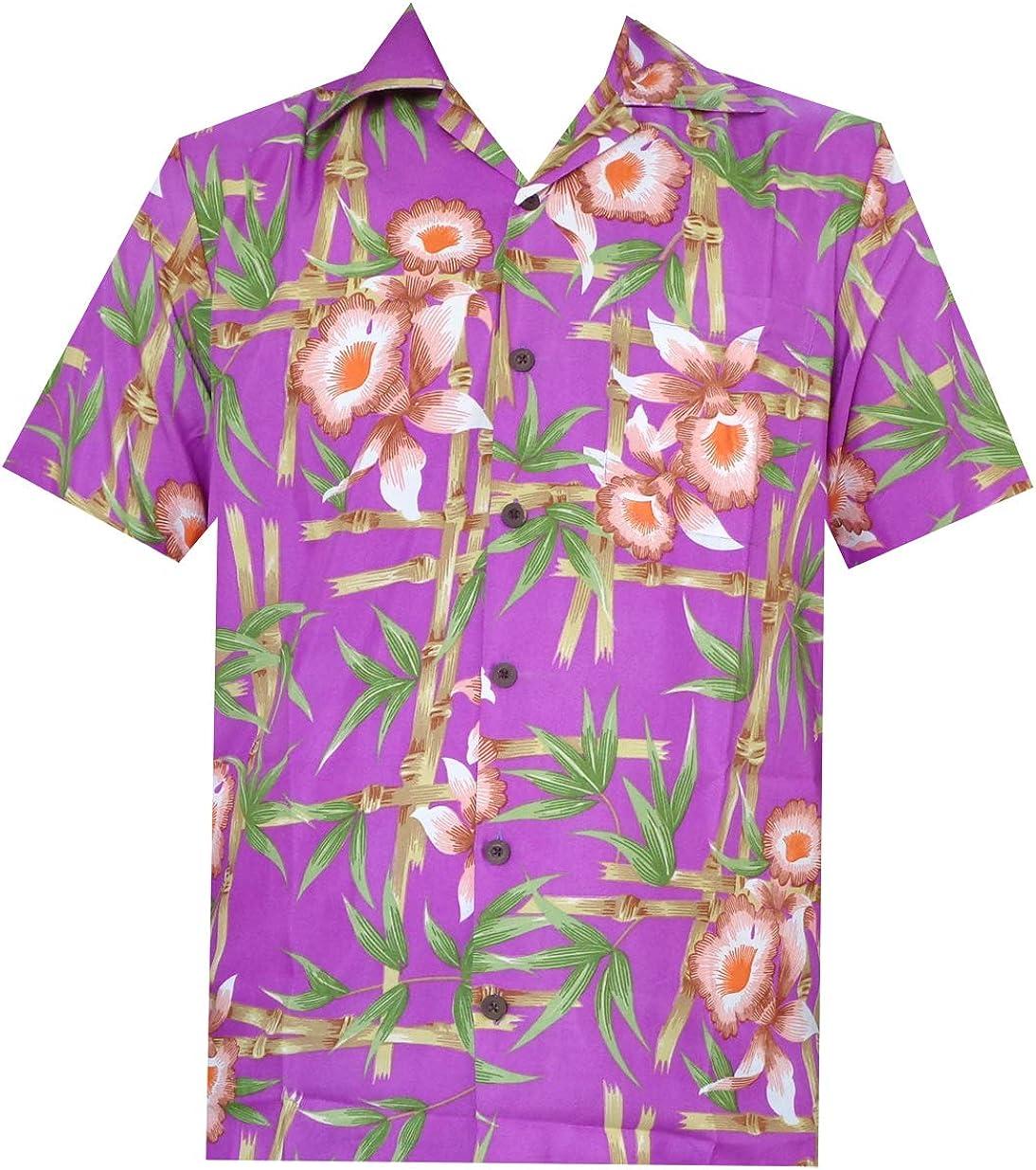 ALVISH - Camisas hawaianas de flamenco rosa para hombre, para playa, fiesta, casual, acampada, manga corta, crucero - Morado - Large: Amazon.es: Ropa y accesorios