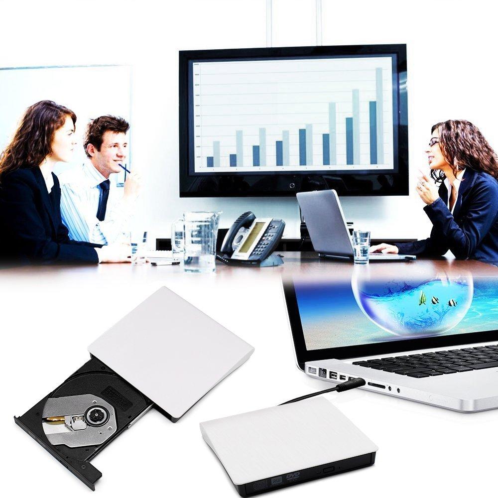 External DVD CD Drive, JIRVY USB 3.0 Ultra Slim Portable External Slot CD DVD Storage Drive External DVD Writer Burner Player RW/ROM Drive for Apple Macbook Pro Air iMAC or Laptops/Desktops (White) by JIRVY (Image #7)