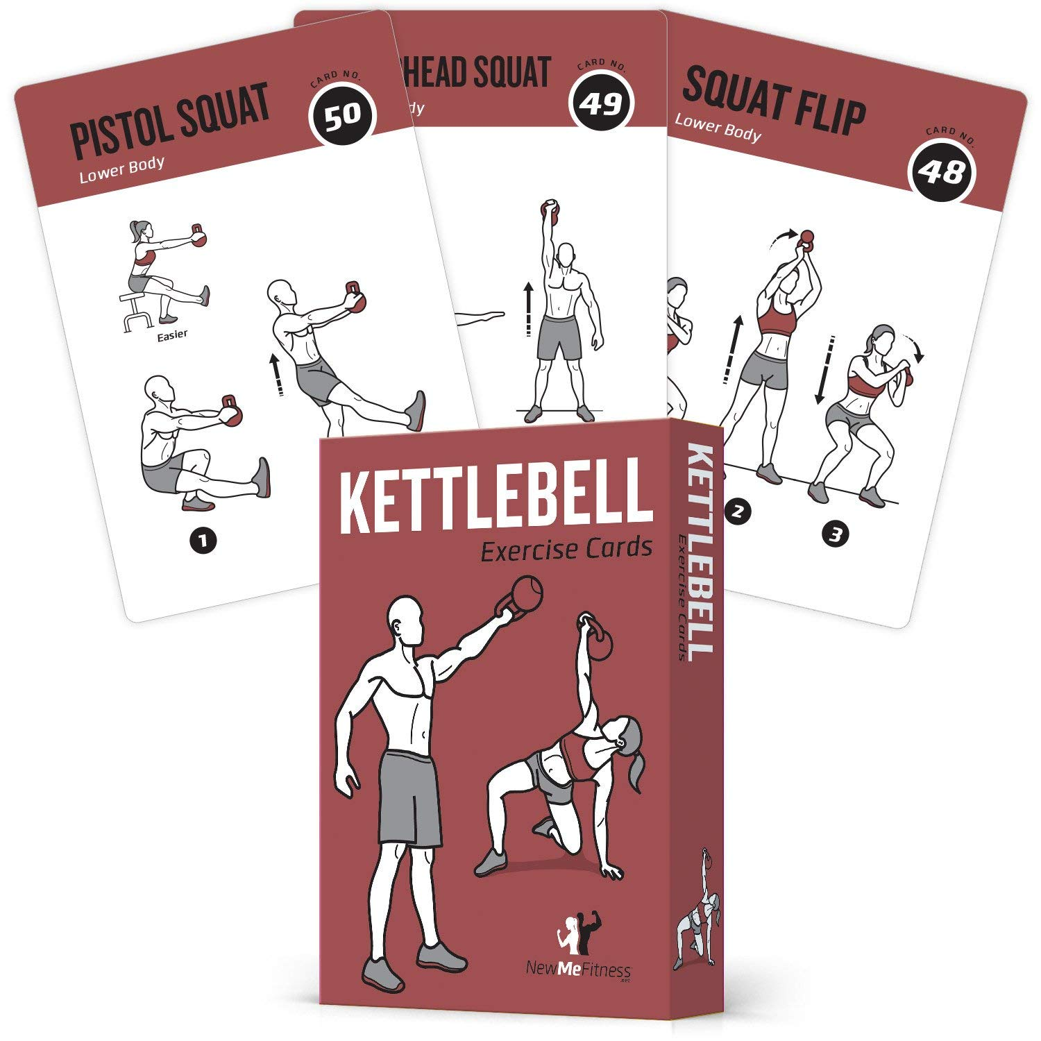 Exercise Cards Kettlebell Home Gym Workouts HIIT Strength Training Build Muscle Total Body Fitness Guide Training Routines Bodybuilding Personal Learn KB Moves 3.5''x5'' Cards Burn Fat by NewMe Fitness