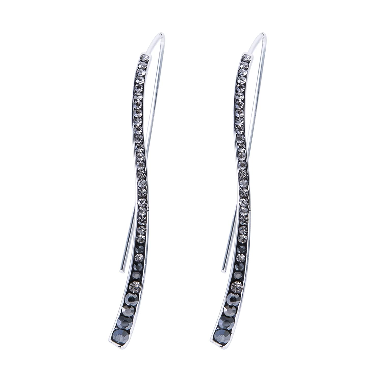 See More Colors Crystalogy Silver Plated Crystal Long Curved Stick Fashion Earrings