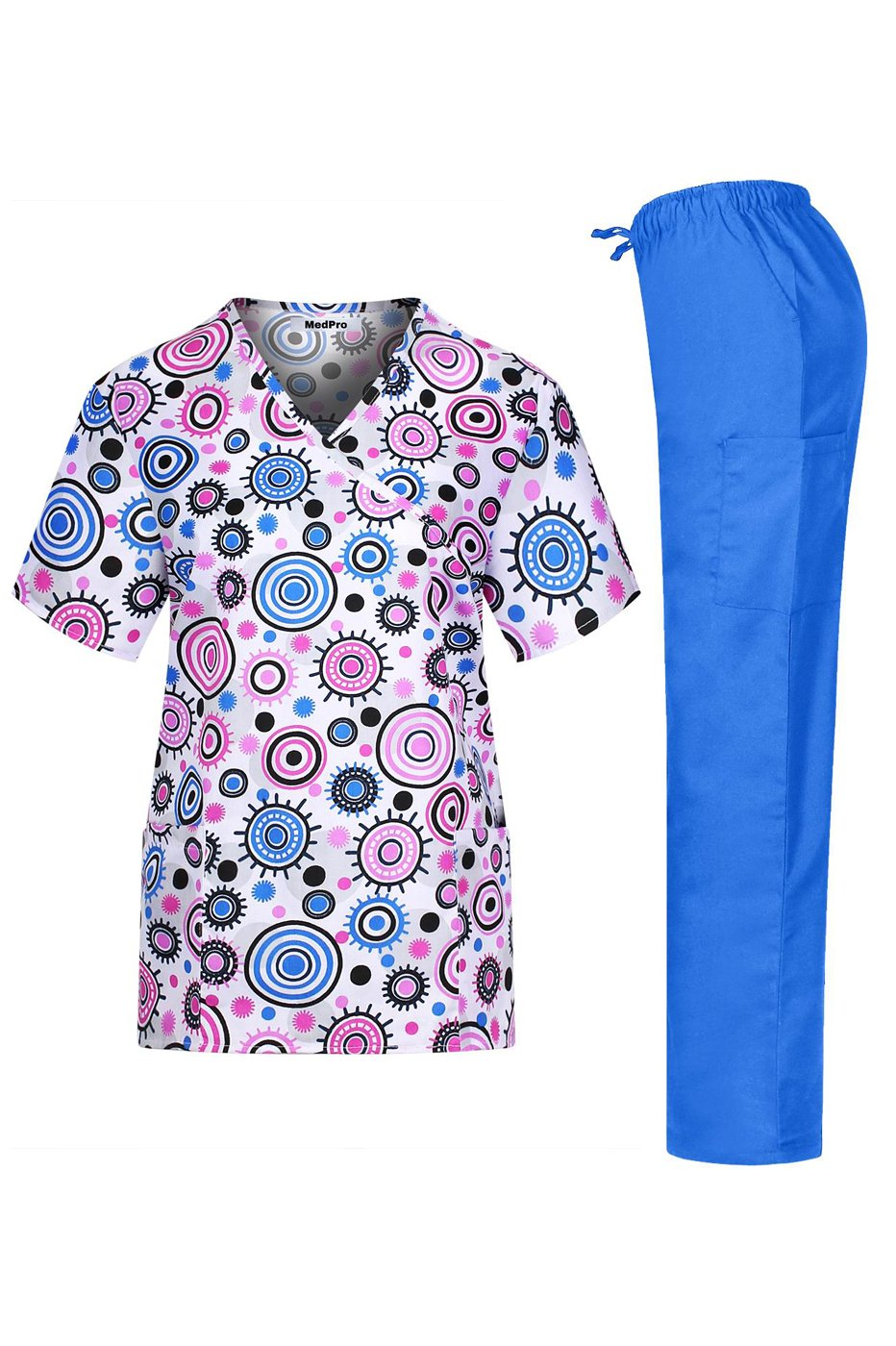 MedPro Women's Medical Scrub Set with Printed Top and Cargo Pants Pink Blue M