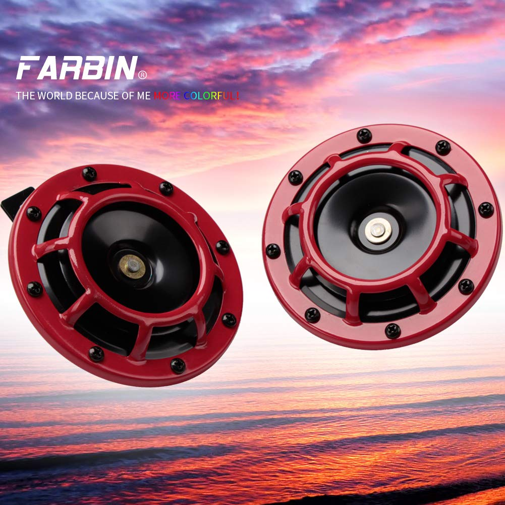 FARBIN Eletric Car Horn Super Tone 12V High Tone//Low Tone Metal Twin Horn Kit with Protective Grill red