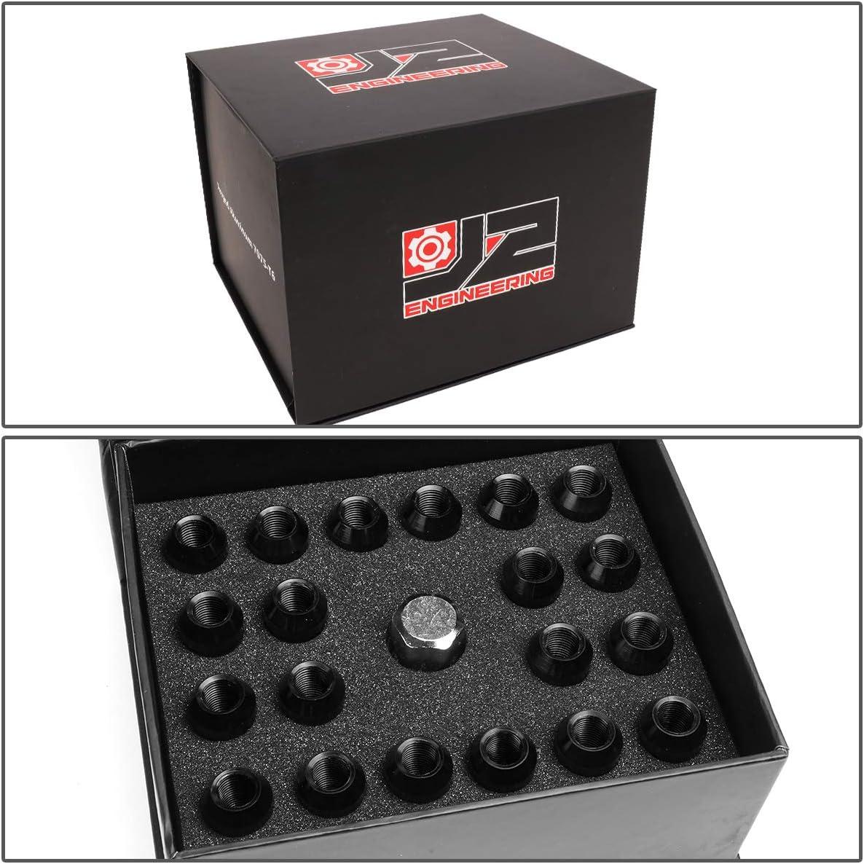 J2 Engineering LN-T7-007-125-BK 20Pcs M12 x 1.25 7075-T6 Aluminum 50mm Close-End Lug Nut w//Socket Adapter Key Black