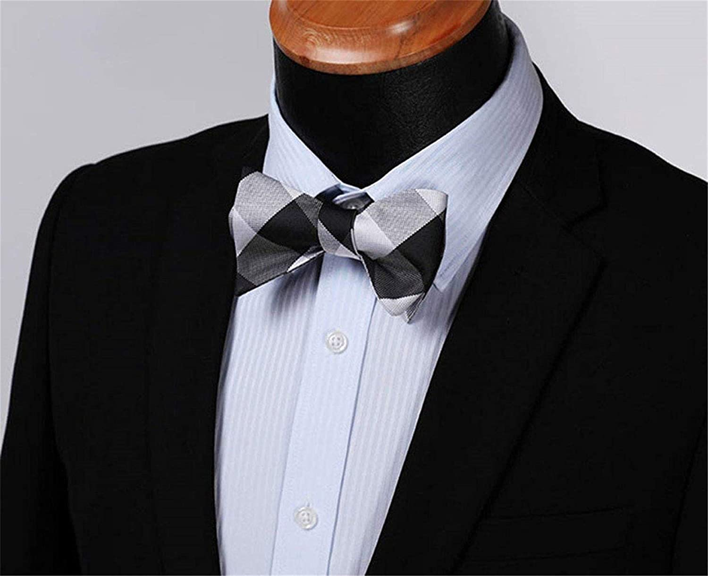 Salt/&Seas Mens Check Plaid Jacquard Self Tie Bow Tie Pocket Square Set Wedding Party