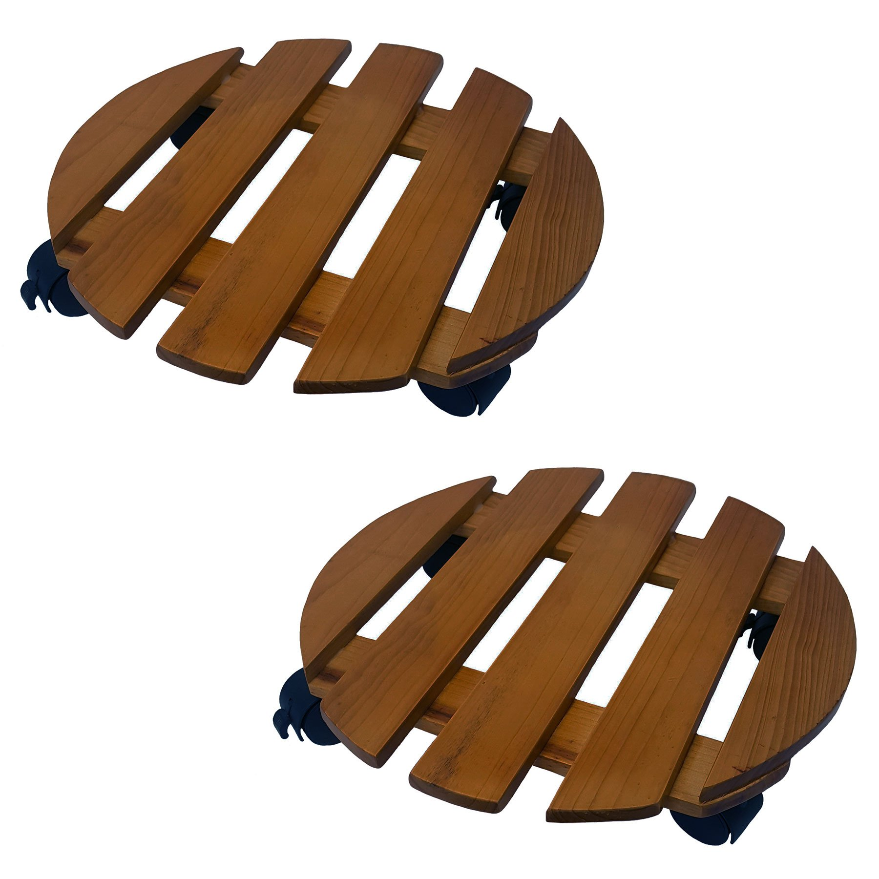 2 Pack of 14 Inch Round Wood Roller Planter Caddy Fruitwood Slatted Wheel Plant by HowPlumb