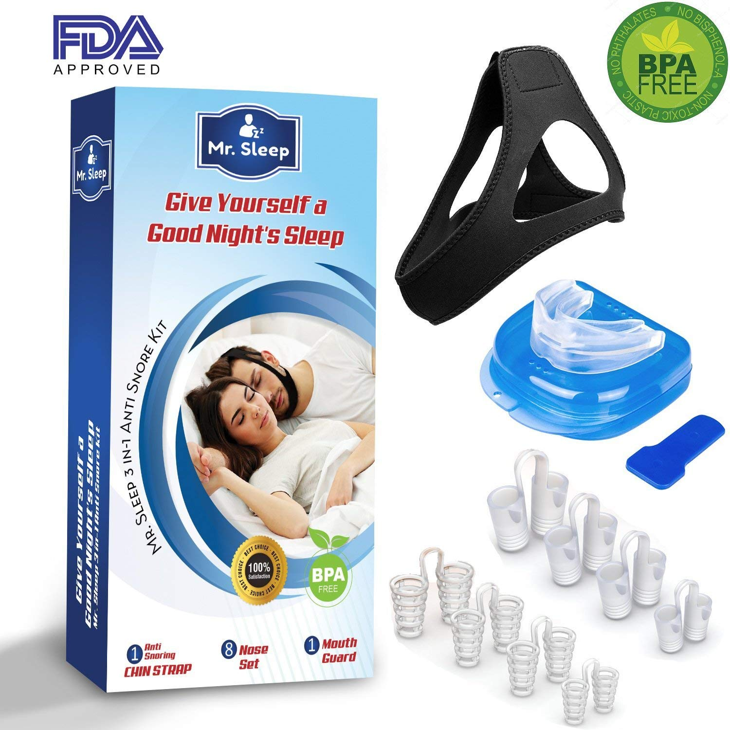 Snoring Solution,3 in 1 Anti Snoring Devices,Nose Vents,Nasal Dilators,Anti Snoring Mouthpiece,Snoring Mouth Guard,Anti Snoring Chin Strap Included,Snore Stopper-Designed by Mr.Sleep