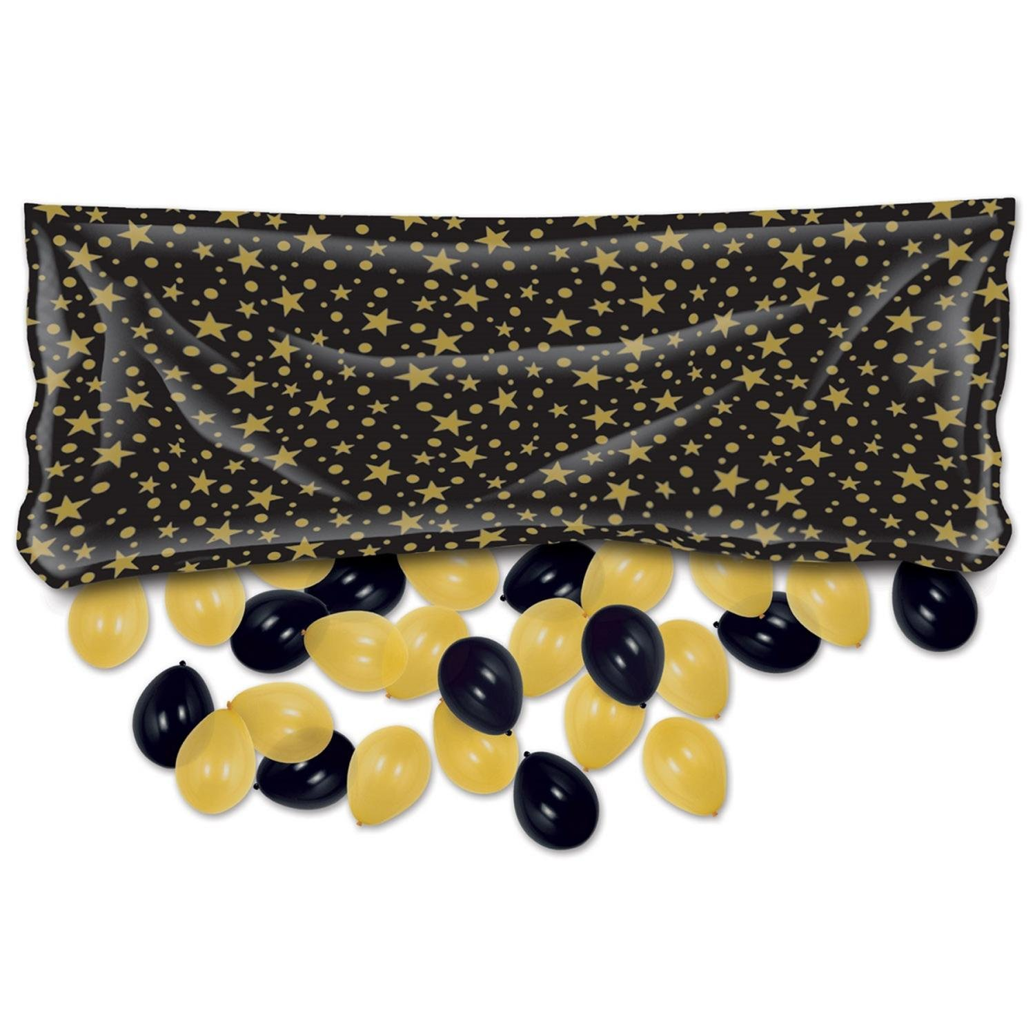 Club Pack of 12 Black and Gold Decorative Party Balloon Bags 80'' by Party Central
