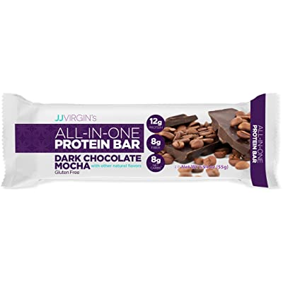 JJ Virgin All-in-One Protein Bar in Dark Chocolate Mocha - 12 Grams of Protein, 8 Grams of Fiber + MCT Oils (Box of 12): Health & Personal Care