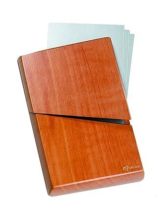 Momentissimo Visitenkartenetui Aus Birnen Holz Und Edelstahl Visitenkartenbox Für Die Aufbewahrung Von Visitenkarten Oder Als Hülle Für Kreditkarten
