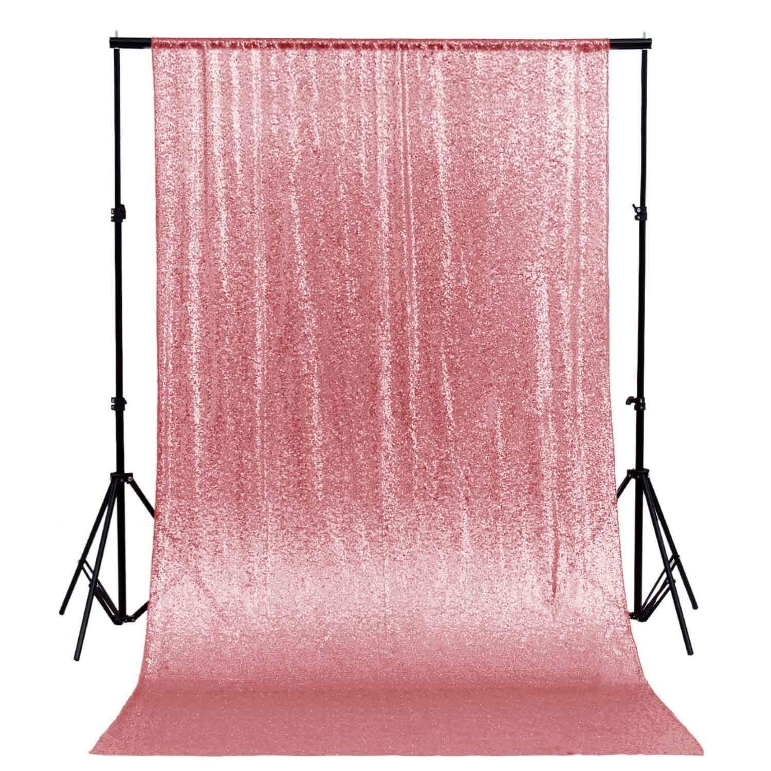 DUOBAO Sequin Backdrop Curtain 4FTx6FT Fuchsia Pink Glitter Background Fuchsia Pink Sequin Photo Backdrop Prom Party Decor~0613 by DUOBAO