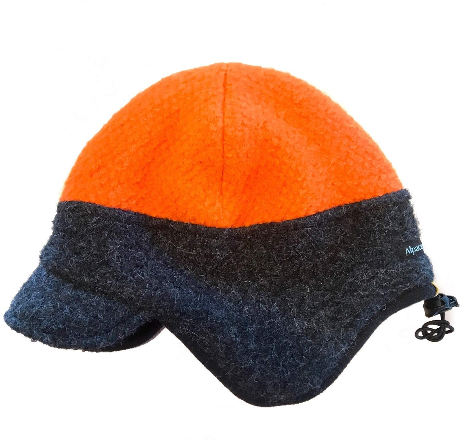 Alpacas of Montana Extreme Warmth Adjustable Windstopper Sportsman's Hunting Hat - 3 Size and Color Options Uni-Sex (Orange/Gray, Small) by Alpacas of Montana