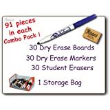 30 Student BLANK DRY ERASE BOARDS Combo Pack Double Sided, with Dry Erase Boards, Markers & Student Erasers, MC0912-30, by The Markerboard People