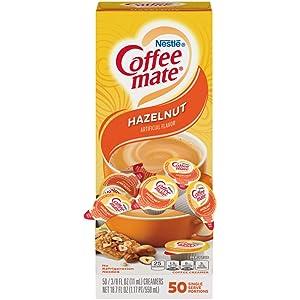 Nestle Coffee mate Coffee Creamer, Hazelnut, Liquid Creamer Singles, Box of 50 Singles