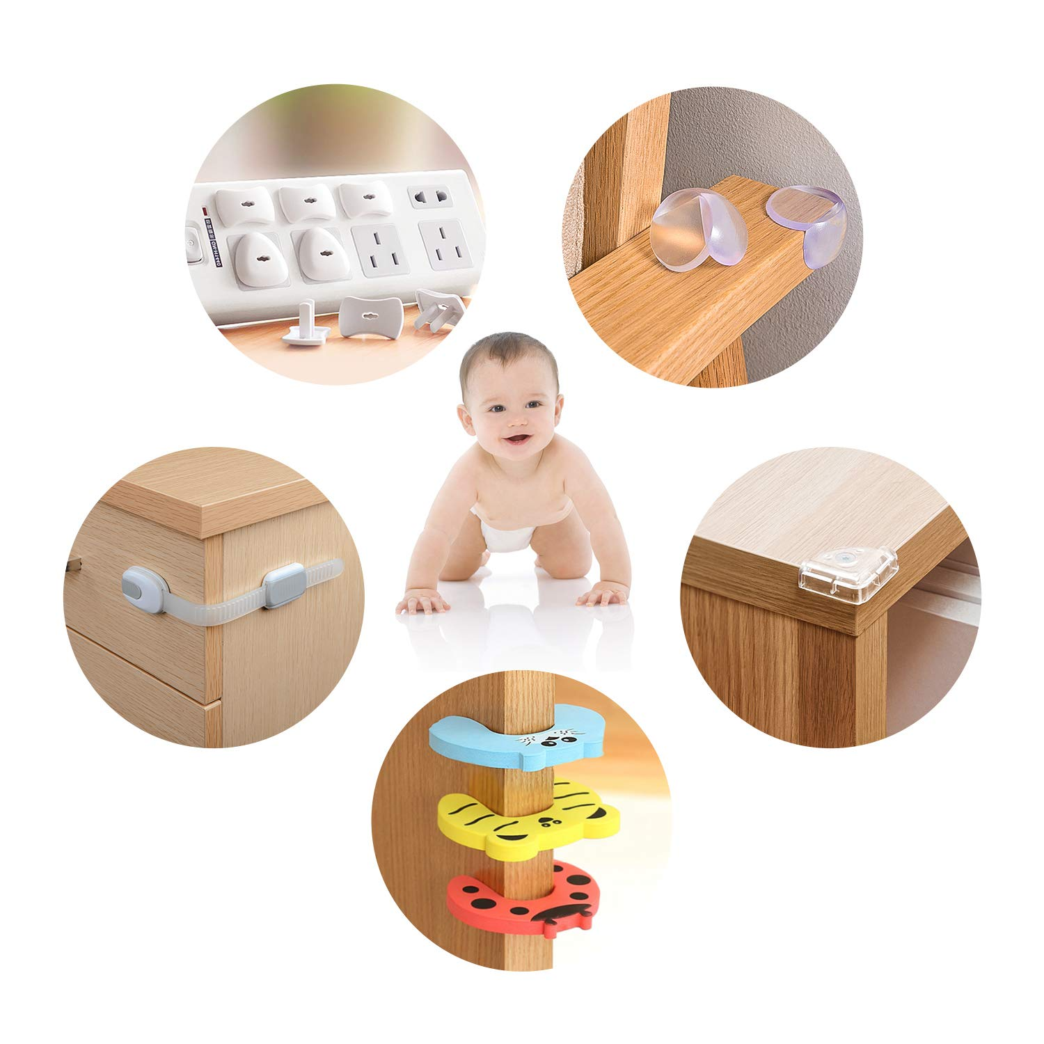 Fansteck Baby Proofing 48 Pack - 20 Corner Guards & 10 Cabinet Locks & 12 Outlet Covers + 3 Keys & 3 Baby Door Stopper - Chock Free Size and Nontoxic PVC Material for Child