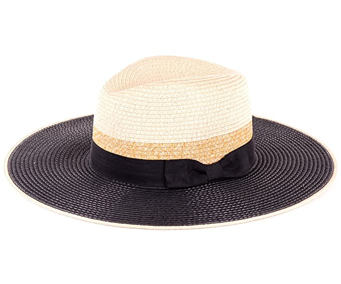 33c820df7cad9 Be Your Own Style BYOS Chic Colorblock Summer Straw Floppy Sun Panama Hat W  Grosgrain