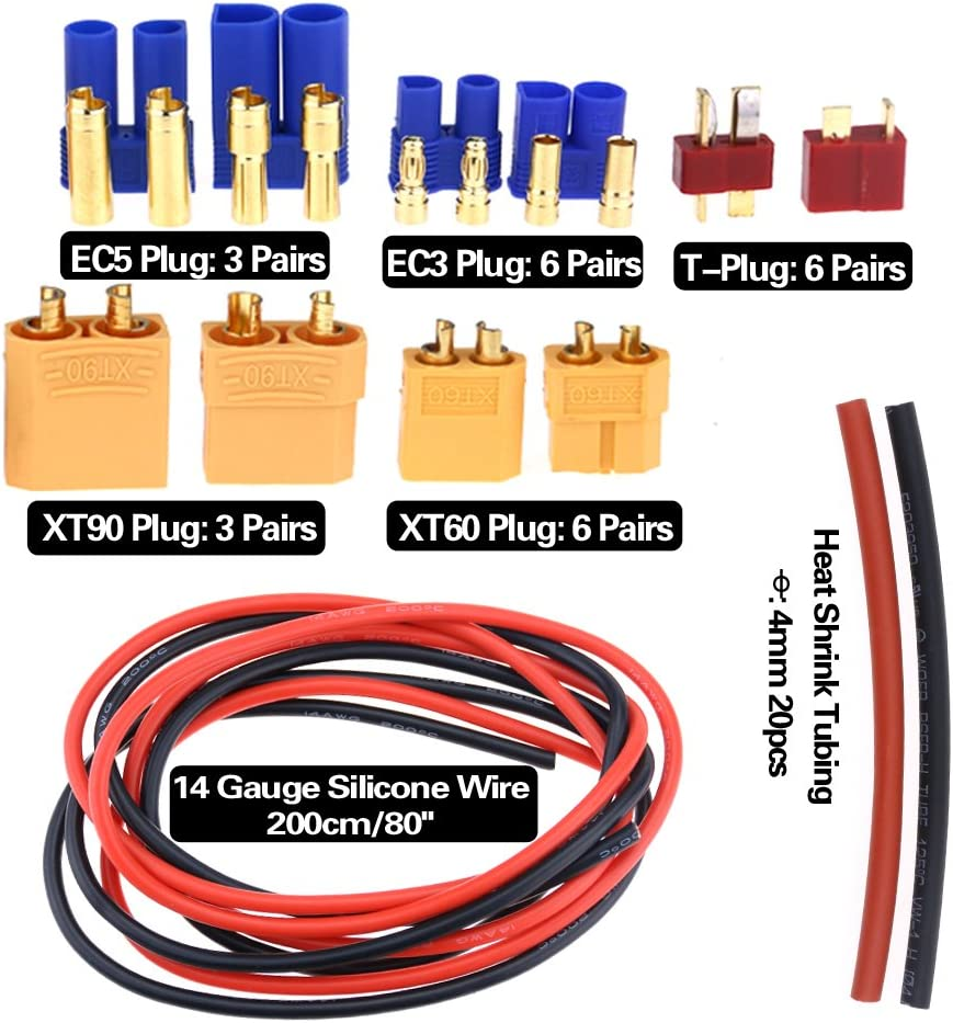 Glarks 76pcs T-Plug EC5 Male /& Female Plug Adapter Connectors Kit XT60 for RC Lipo Battery Accessories XT90 EC3 Including: 14 GA Silicone Wire and Shrink Tubing