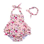 China Rose 50's Floral Ruffles Rompers Backless Dress Bathing Suit Swimwear (Small,Pink)