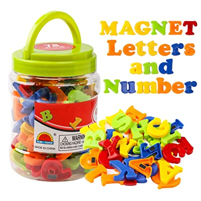 kizh Magnetic Letters and Numbers for Kids Alphabet Fridge Magnets Educational Preschool Toddler Toys Learning Spelling Counting 78 Pieces: Toys & Games