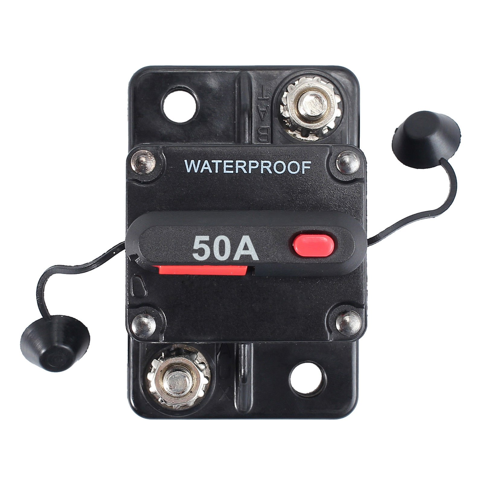AUTOUTLET 50A AMP Circuit Breaker Dual Battery IP67 Waterproof 12V 24V Fuse Reset Compliance SAE J1625, SAE J1171, UL1500 Ignition Protect