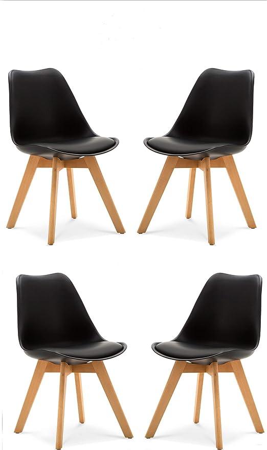 Comfortableplus Set aus 4 Tulip Esszimmer Stuhl, Stuhlbeine aus massiver Buche, Stühle ohne Arme, gepolstertes Design für maximalen Komfort, Schwarz