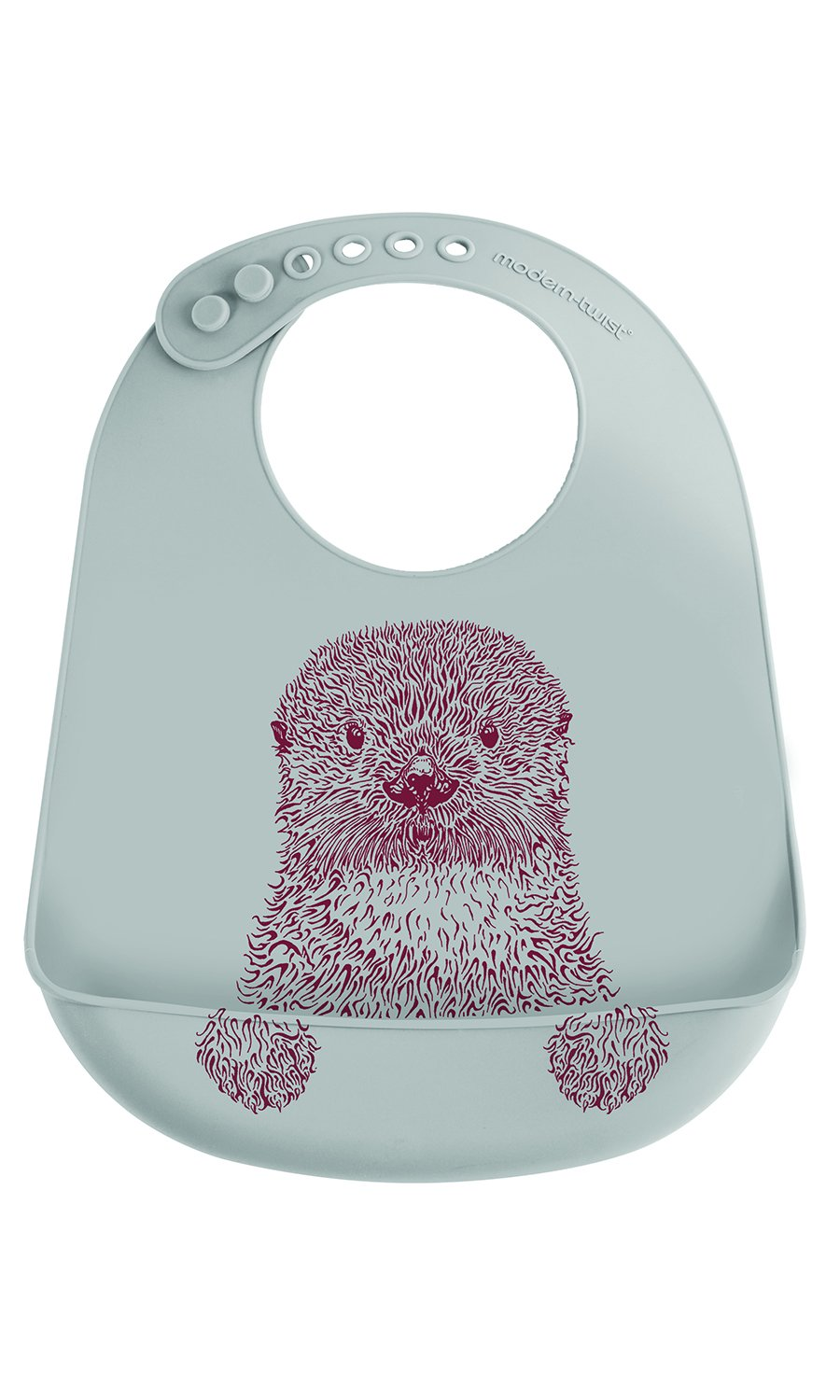 modern-twist Sloth Waterproof Silicone Baby Bucket Bib with Adjustable Strap, Plastic Free, Wipe Clean and Dishwasher Safe, Grey Modern Twist BB20