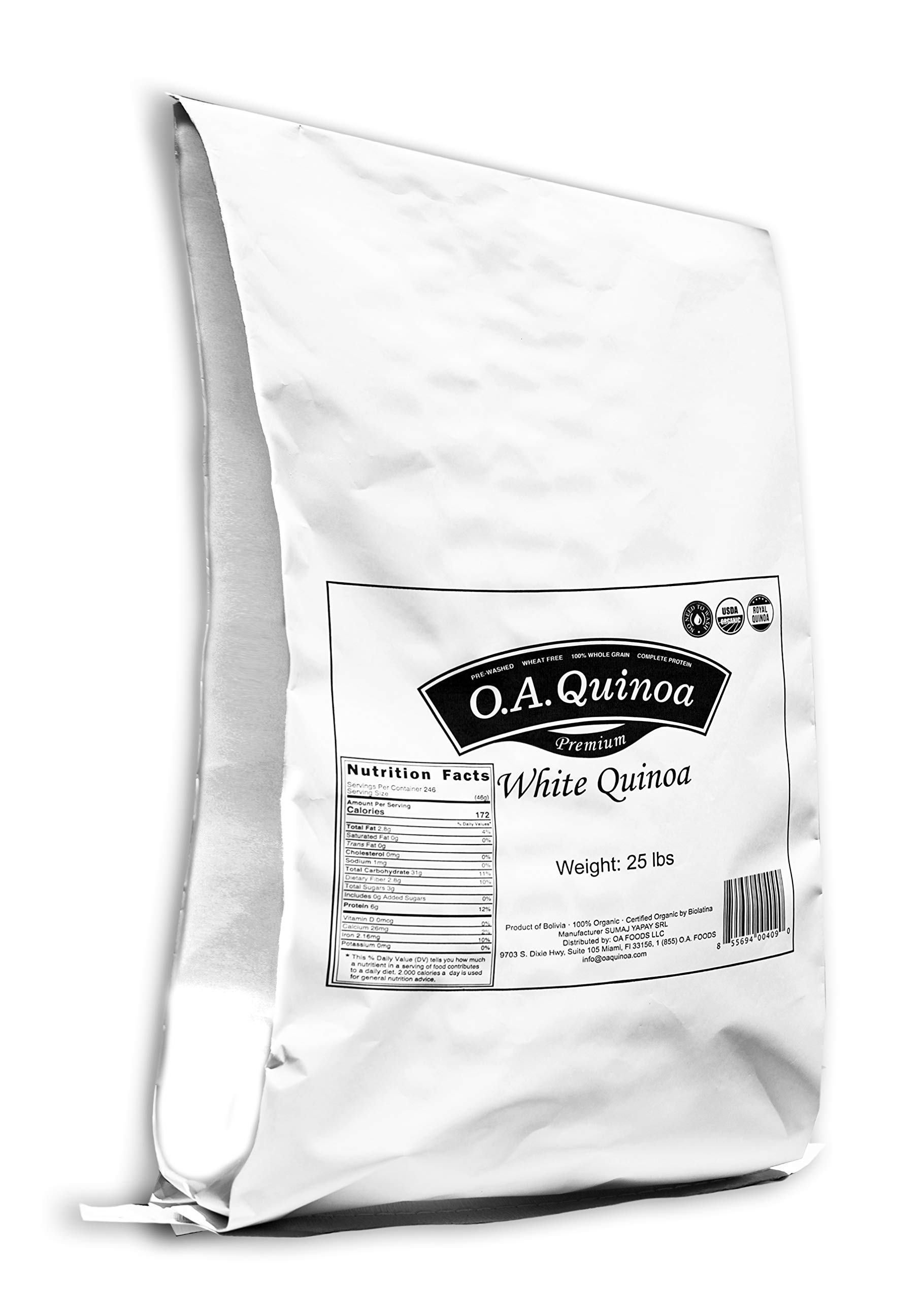Royal Organic White OA Quinoa (25 Lb Bulk Bag)