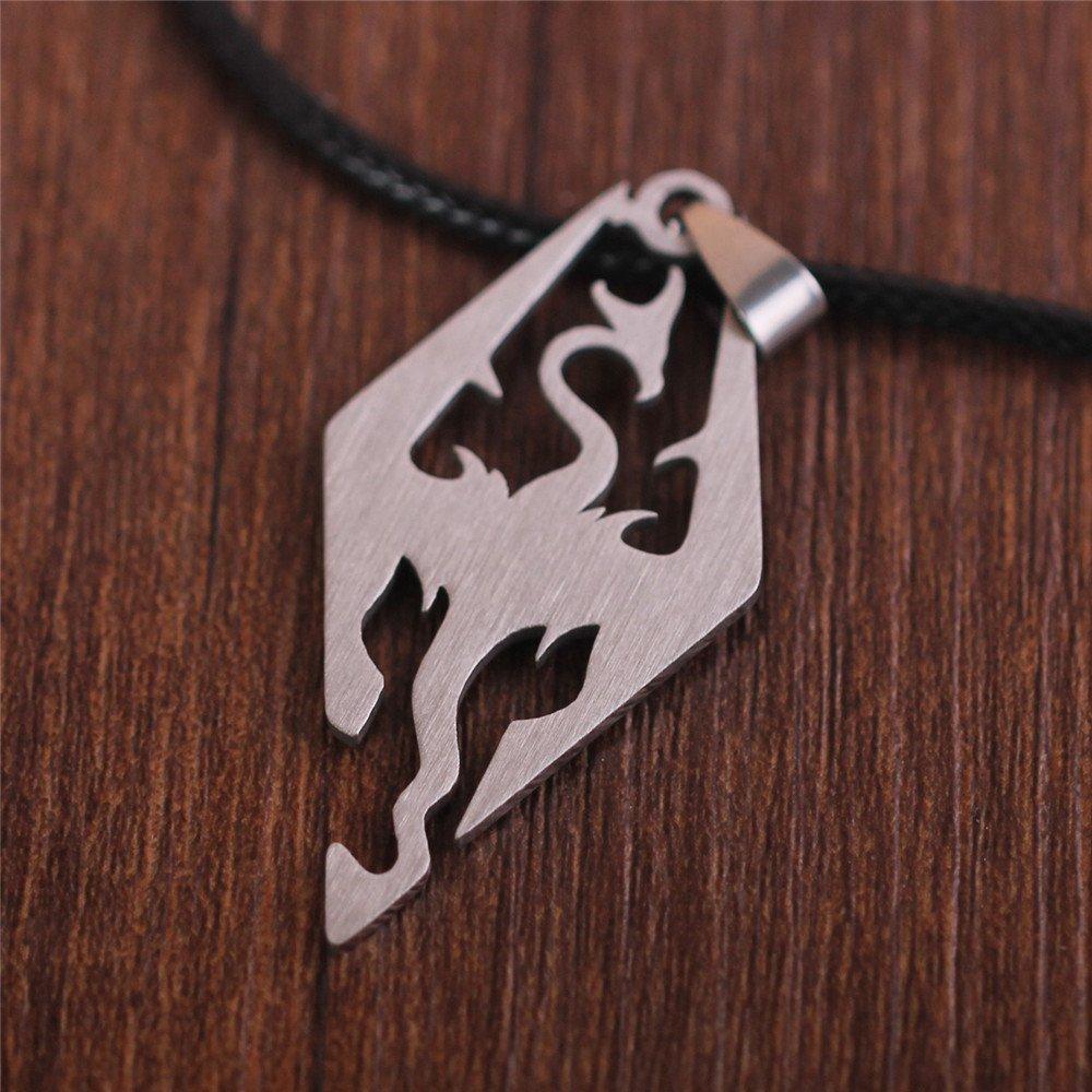The Elder Scrolls Skyrim Dragon Logo Pendant Stainless Steel Free Black Rope Chain by Generic