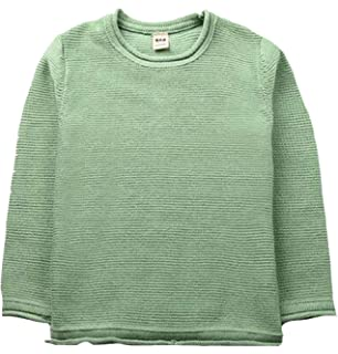 Cromoncent Girls Long-Sleeve Cable Thickened Round-Neck Knit Solid Sweater