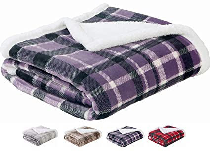Sedona House Sherpa Fleece Blanket Throw Purple Plaid - Luxury Flannel with  Sherpa Cozy Fuzzy Plush cf3976069