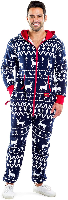 Tipsy Elves Men's & Women's Cozy Christmas Sweater Party - Fair Isle Blue Adult Cozy Jumpsuit