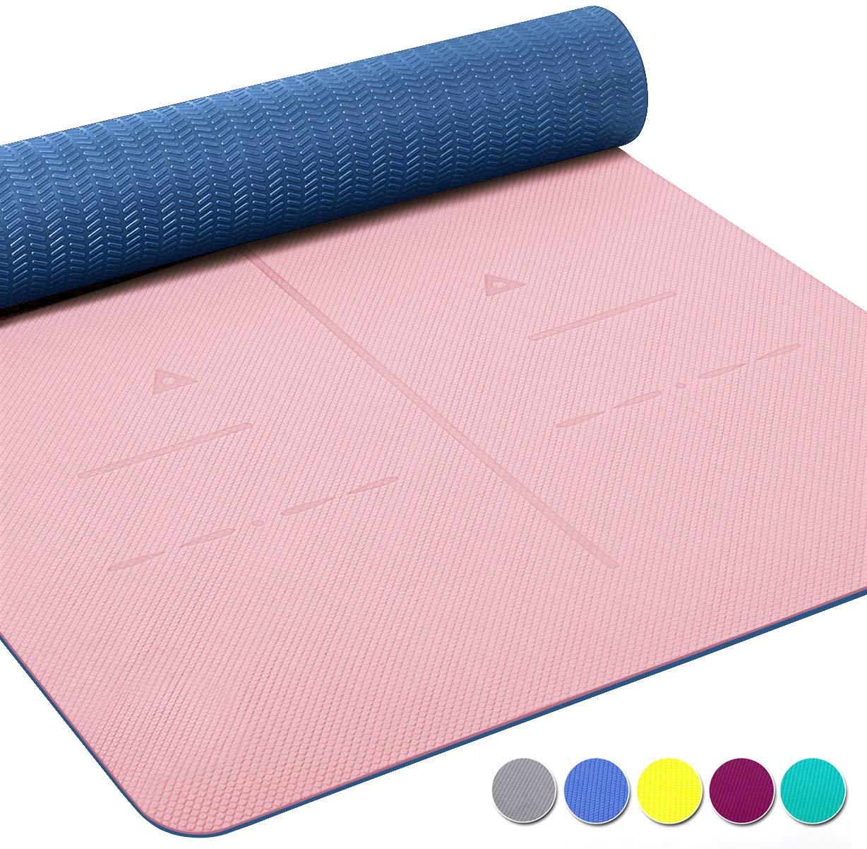 Heathyoga - Esterilla de yoga antideslizante, con superficie de amortiguación óptima, con un sistema de alineación del cuerpo, fabricada de TPE con ...