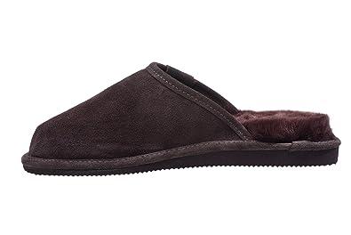 New Mens Womens Genuine Sheepskin Mule House Slippers Shoes Warm Wool Lining UK