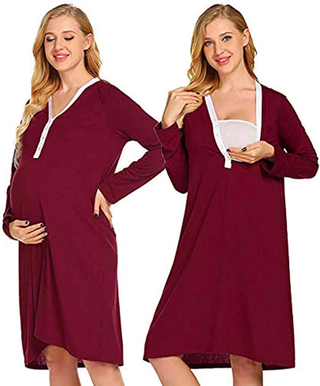 Maternity Nursing Dress Half Sleeve Casual V Neck Women Dress For Breastfeeding