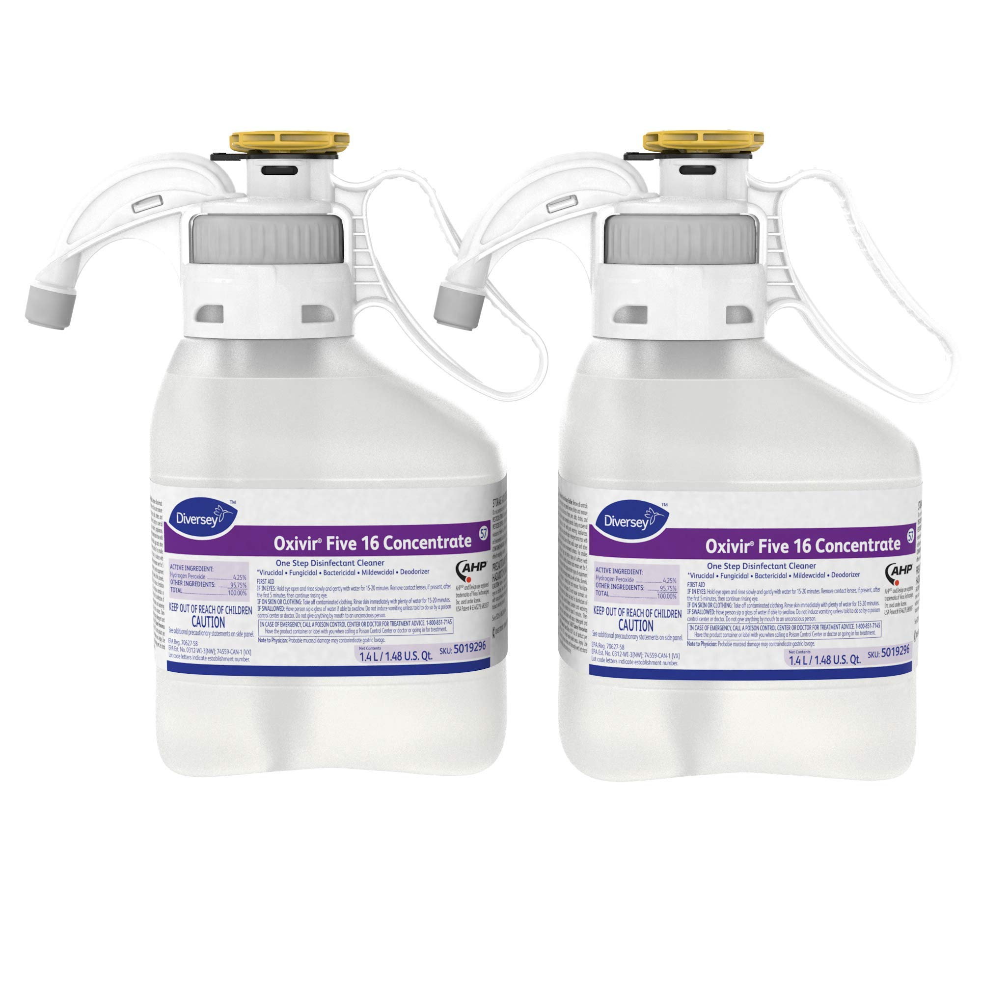 Diversey Oxivir Five 16 Concentrate Disinfectant Cleaner (1.4-Liter, Case of 2)