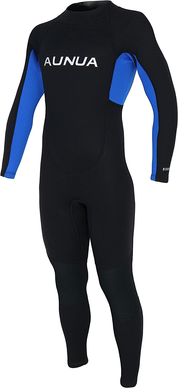 Aunua Youth 3/2mm Neoprene Wetsuits for Kids Full Wetsuit Swimming Suit Keep Warm