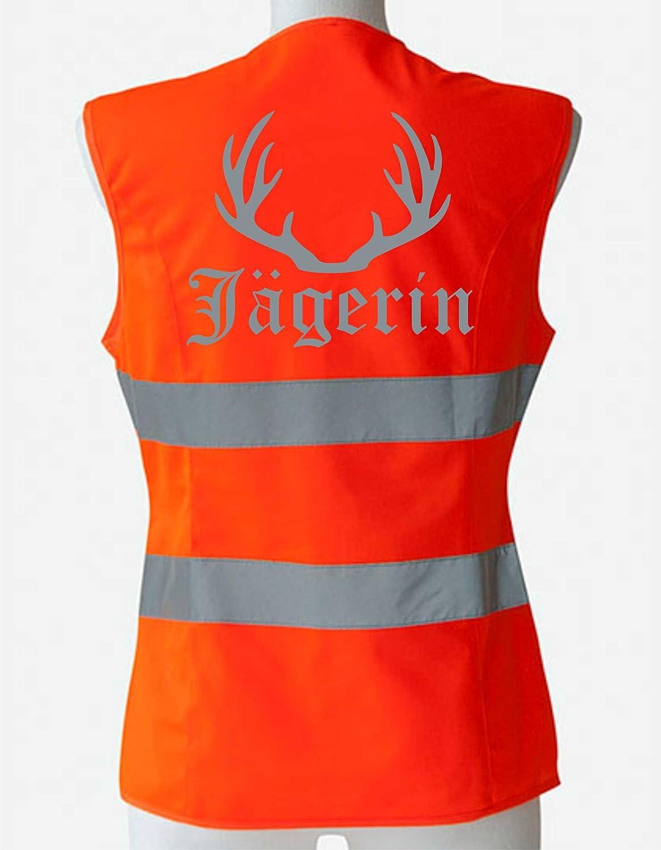 Damen Warnweste tailliert J/ägerin Jagd Sicherheitsweste Treibjagd Treiberin Gr.S M L mit individuellem gro/ßfl/ächigem Reflektor Druck M