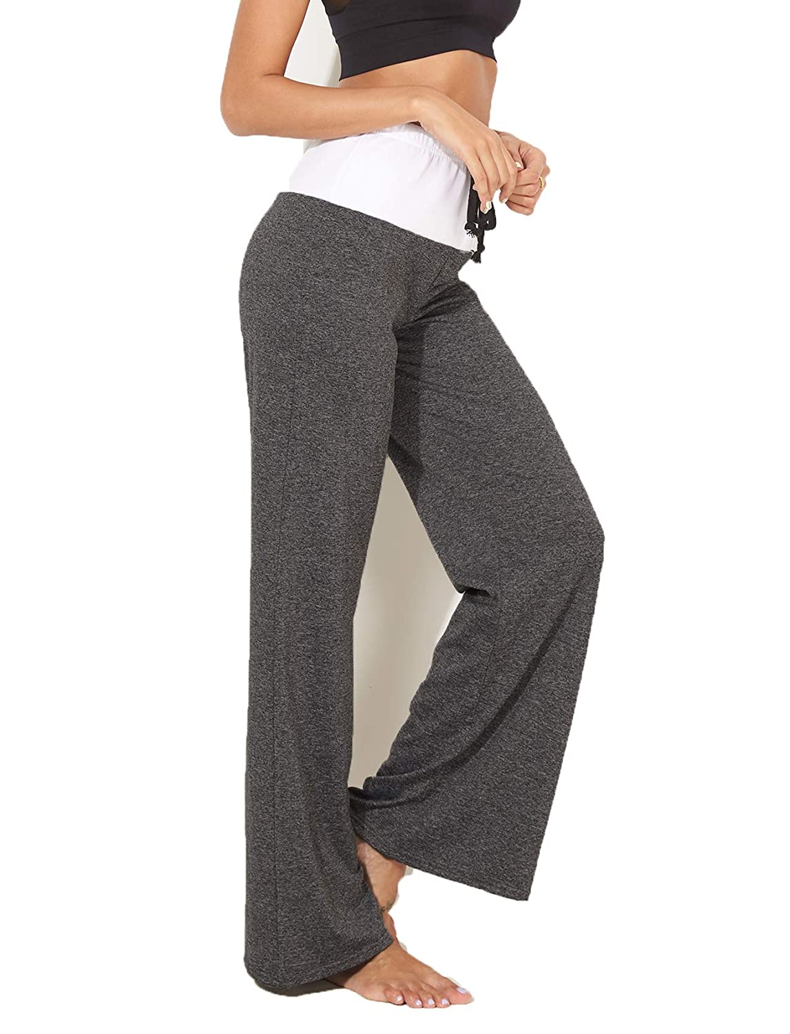 1 Black RIOJOY Women Wide Leg Yoga Trousers,Loose Casual Pajama Pants Fitness Leggings Comfy Baggy Workout Gym Palazzo Pants
