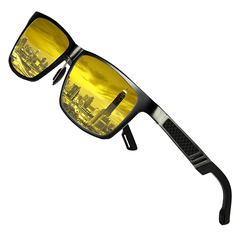 DUCO Occhiali da guida notturni polarizzati antiriflesso da uomo e da donna Occhiali da guida gialli da visione notturna HD 2217 SH2217NACHT