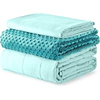 YnM Kids Weighted Blanket and Duvet Covers — Hot and Cold Duvet Cover Set (3 Pieces) — (Green, 36''x48'' 5lbs), Suit for…