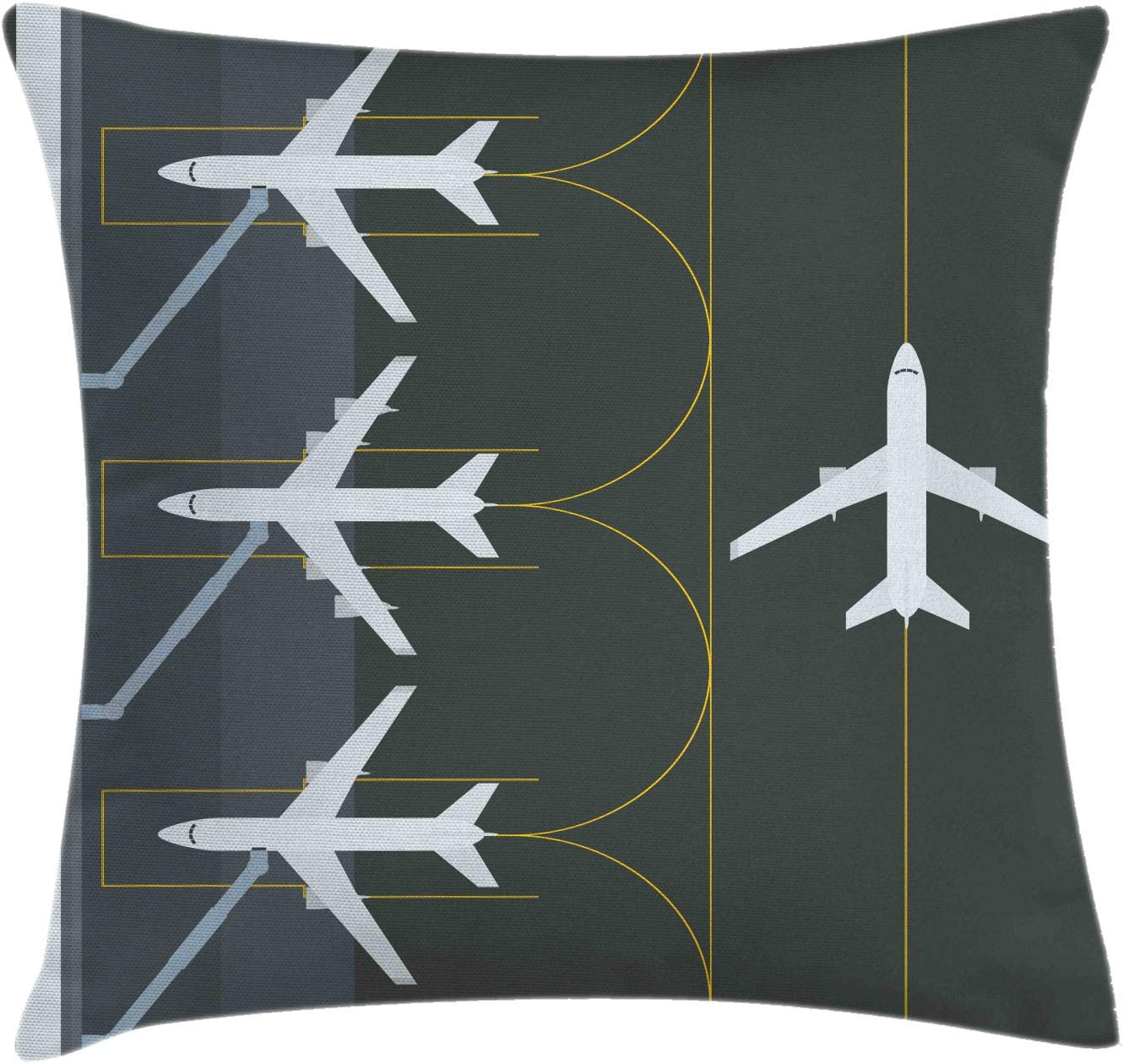 """Ambesonne Airport Throw Pillow Cushion Cover, Aviation Themed Simple Illustration of Parked Airplanes Landed in Airfield, Decorative Square Accent Pillow Case, 16"""" X 16"""", White Dimgray"""