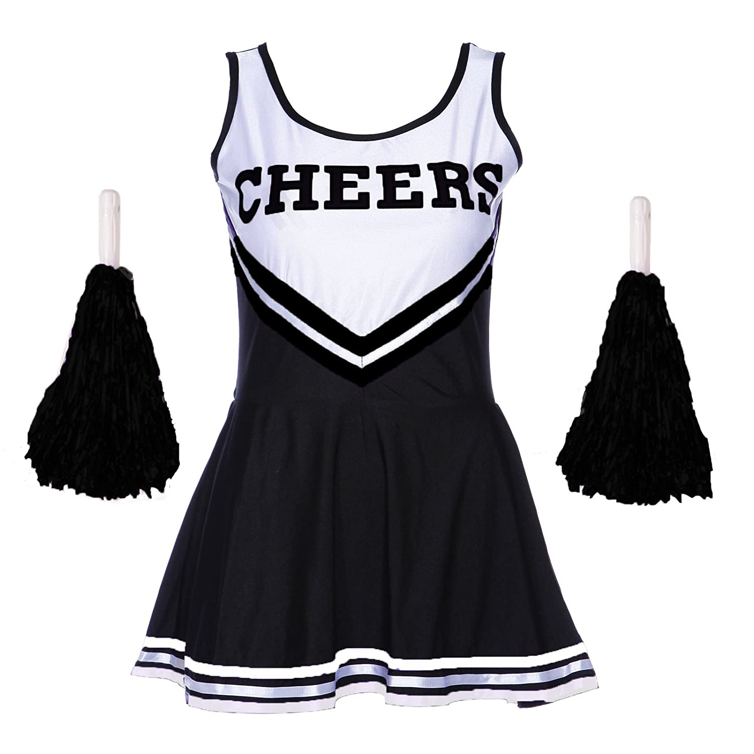Ladies REDSTAR Cheerleader Costume Outfit With Pom Poms - Fancy Dress Costume Sports High School Halloween - 6 Colours / Size 6-16 Wickd