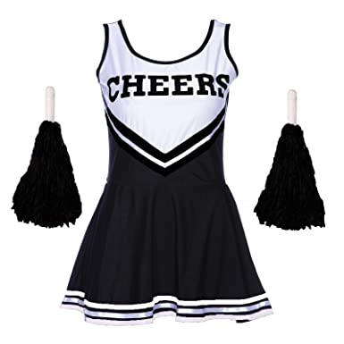 ladies redstar cheerleader costume outfit with pom poms fancy dress costume sports high school halloween - Halloween Pom Poms