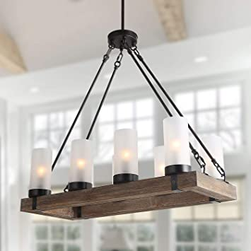 Lnc Farmhouse Wood Chandelier Rustic Rectangular Light Fixture With Frosted Glass Shade For Kitchen Island Dining Living Room And Bedroom Large Amazon Com
