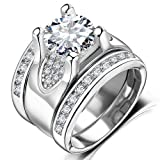 Amazon Price History for:Solitaire Diamond Accent Wedding Rings - 5.56 Ct. Round Cubic Zirconia Promise Stacking Sets Size 6-9